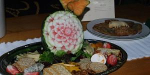 Hors d'oeuvres arranged on a tray in the lobby of the lodge
