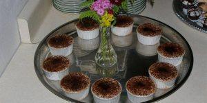 Creme Brulee desserts arranged on a platter