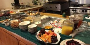 Up close shot of the breakfast buffet set up in the dining room