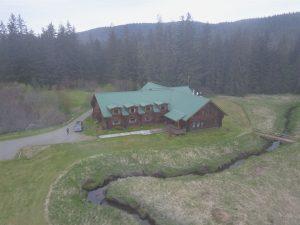 Drone shot of the Bear Track Inn