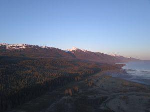 Sunset aerial drone shot of Bear Track Inn's surrounding nature