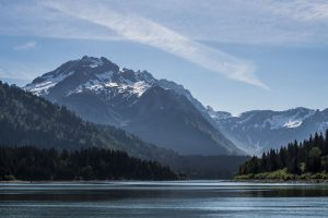 Alaskan shores filled with forests, rolling hills and mountains with bright blue skies