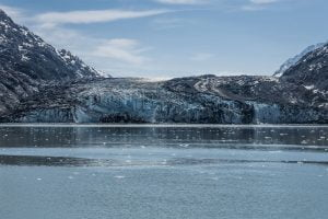 Giant glacier shot from the water before it