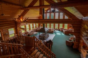 View from upstairs into the great room at the Bear Track Inn