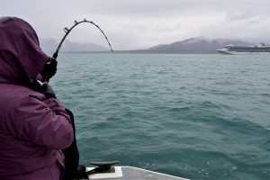 Deep sea fishing off Alaskan coastline