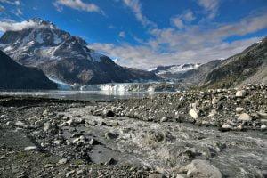 Alaskan Shoreline with view of glacier