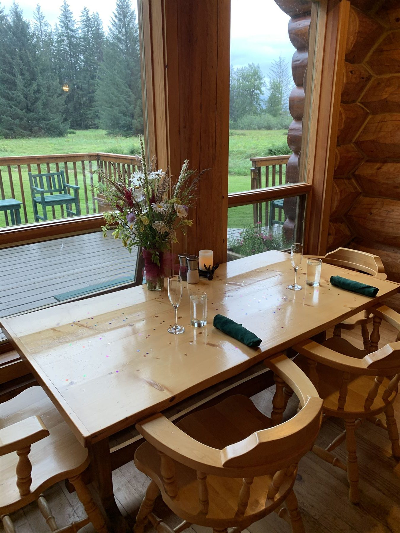 Dining table with view to deck at the Bear Track Inn