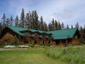 a photo of the front exterior of the lodge on a sunny day